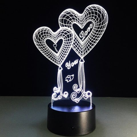 Creative Love 3d Colorful Night Light Led Table Lamp Black With
