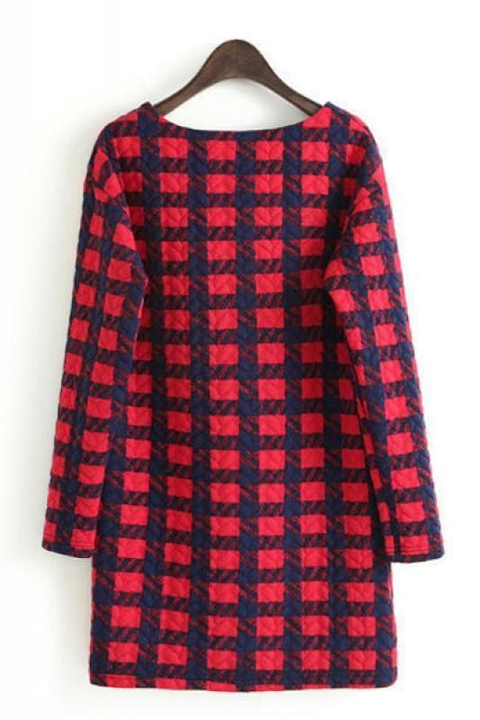 Love! Love! LOVE Plaid! Navy Blue and Plaid Round Neck Long Sleeve Shift Dress #Blue #Red #Plaid #Dress #Fall #Fashion