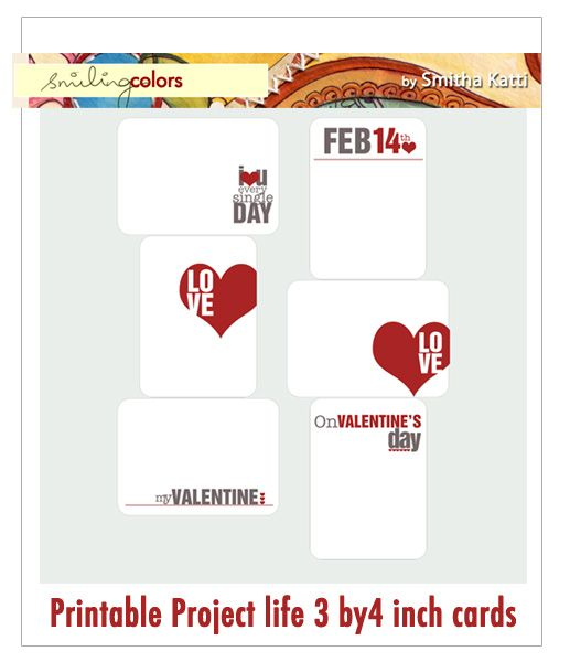 Valen­tine day theme - good for project life