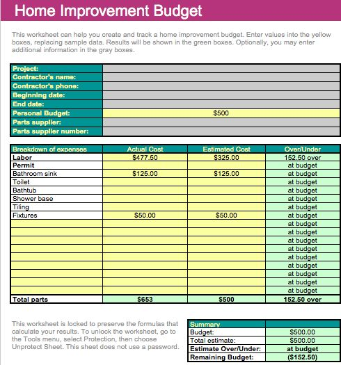Home Improvement Budget Template For Numbers
