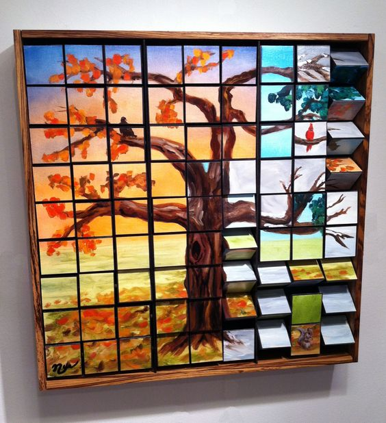 Interactive art made from wood by Eric Nye. Change parts of the tree to different seasons.  Custom designs available