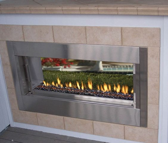 Double Sided Fireplace Outdoor Fireplaces And Fireplaces On Pinterest