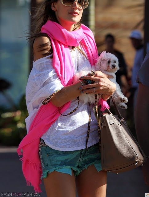 Denim shorts, withe shirt and hot pink scarf: