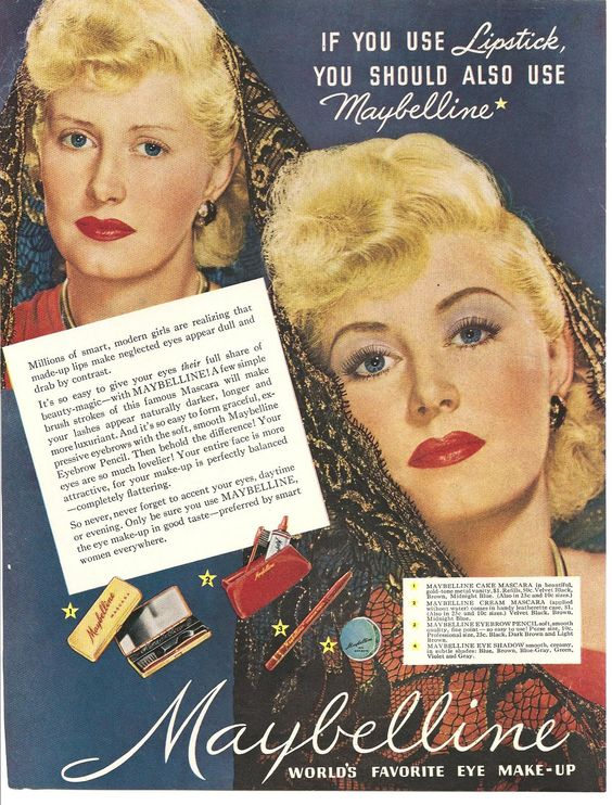 """Maybelline - 1949 - """"Before and After"""" campaign."""