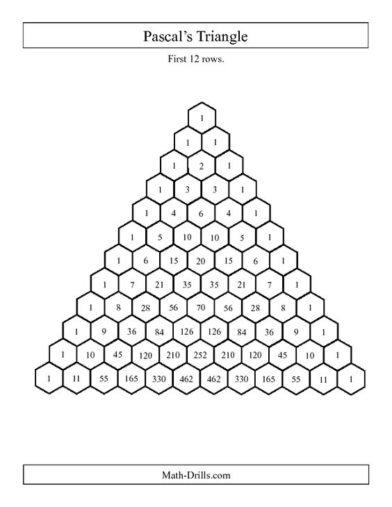 New today Patterning Worksheet Pascals Triangle First 12 – Math Today Worksheets