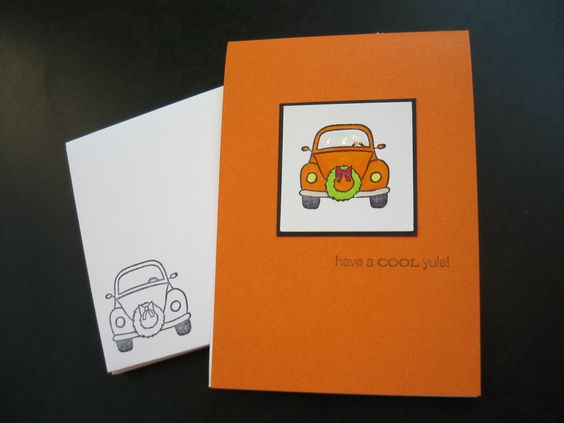 VW Beetle Christmas Holiday Cards Have a Cool Yule Set of 5. $9.00, via Etsy.