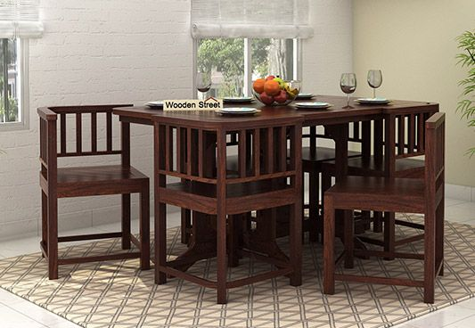Buy Cohoon 6 Seater Dining Set Walnut Finish Online In India 6 Seater Dining Table Dining Furniture Space Saving Dining Table