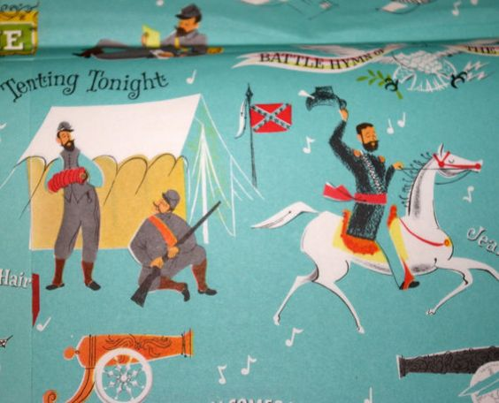 Vintage Civil War Songs gift wrap 50's 60's by roxyrocksvintage, $10.00