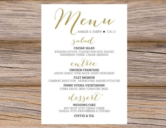 Dinner menu, Calligraphy and Wedding cards