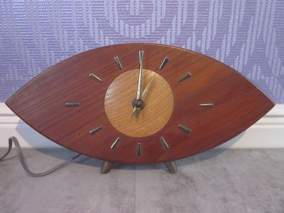 Mid-century Nufa German shelf clock TEAK vintage electric table clock modernist