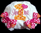 First Birthday Bloomers,Pink and Orange, Birthday Outfit, I'm One, Number One