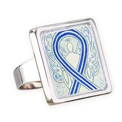 ALS Awareness Ribbon Angel Square Ring Silver