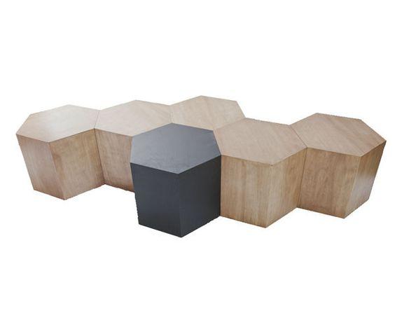 Hexagon Wood Modern Geometric Table Matte Black Waiting Area Furniture And Hexagons