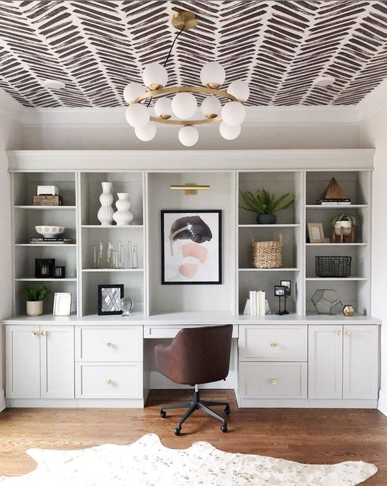 Grey Herringbone Wallpaper | On the ceiling of a home office with built in features