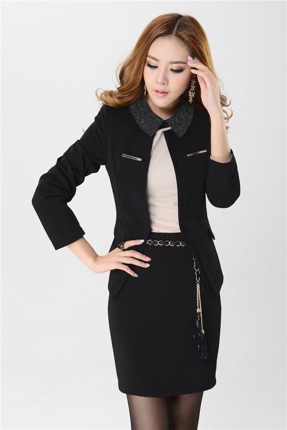Alta calidad nuevo 2015 moda juegos de falda Formal para mujer Blazers escudo y falda profesional Sets elegante negro Plus tamaño 4XL en Trajes con Falda de Moda y Complementos Mujer en AliExpress.com | Alibaba Group