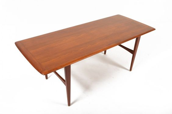 DANISH MODERN TALL TEAK COFFEE TABLE • Mid Century Mobler