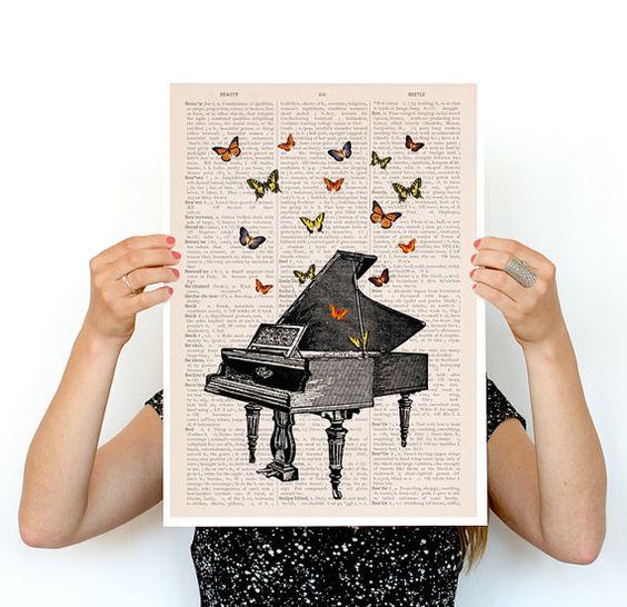 Piano with butterflies Poster, Synesthesia poster A3 poster, Music art, music art, home decor, Wall art, Butterfly art, Giclee art, PBB086