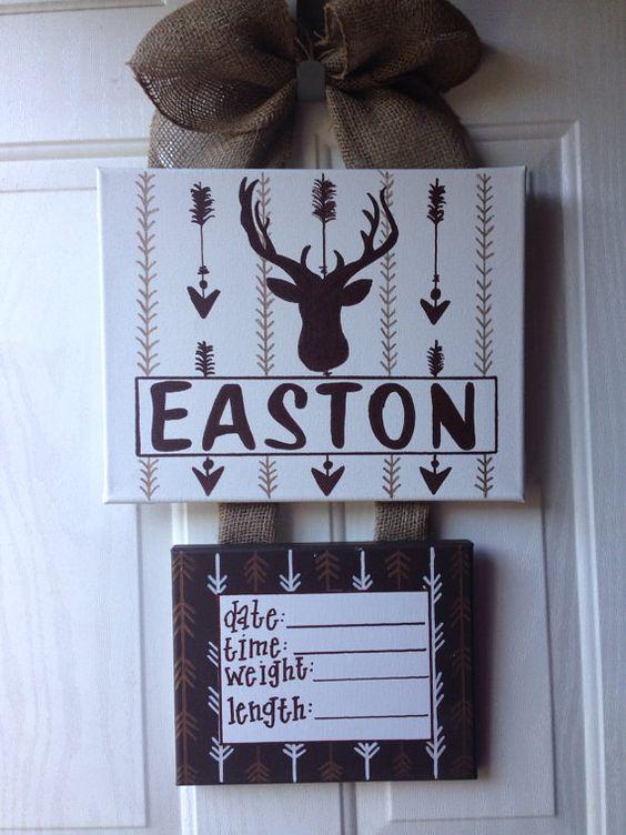 Woodland deer arrow theme hospital door hanger, hospital door wreath