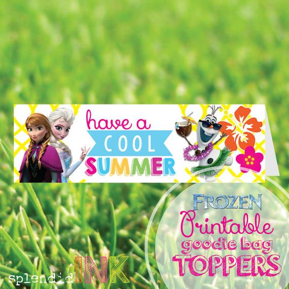 "FROZEN end of the year class PRINTABLE goodie bag topper cards ""have a cool summer""  by SplendidINK, $10.00"