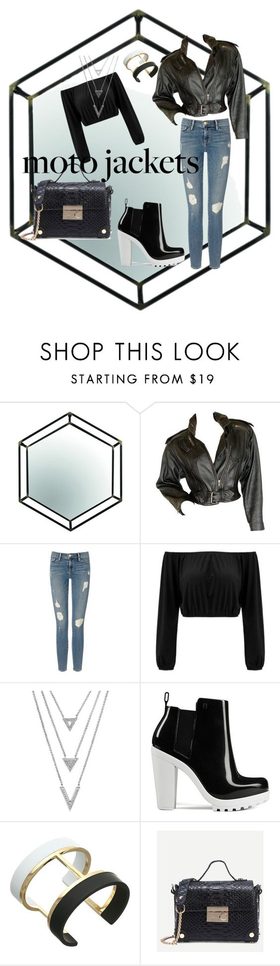 """""""#motojacket"""" by ml-since99 ❤ liked on Polyvore featuring Frame Denim, Melissa and Vince Camuto"""