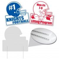 Football Helmet Shaped Corrugated Plastic Sign. Corrugated Plastic Signs are the solution to your inexpensive sign needs. Campaign signs, business signs, real estate signs - this sign can handle all your advertising sign needs. Corrugated plastic signs are great for long term and short term use, and store well for reuse at another time.