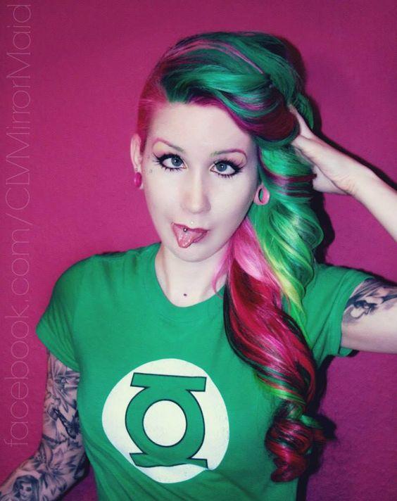 colorful hair  #alternative #model #artist #tattoo #hairstyle #multicolor #punk #hardcore