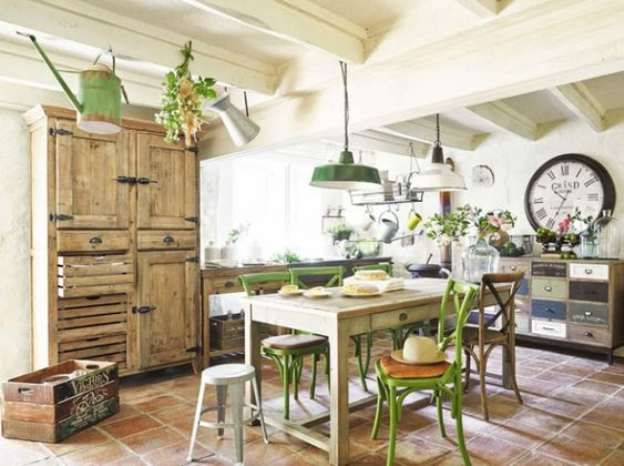 Design tables and vert on pinterest for Decoration maison style campagne chic