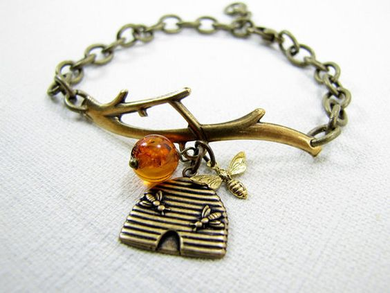 Beehive And Honeybee Bracelet Brass Tree Limb Branch Nature Inspired Jewelry