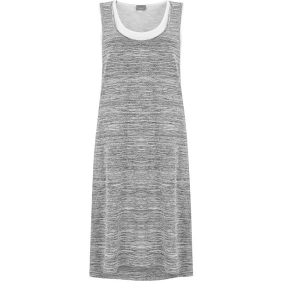 Hygge by Mint Velvet Layered Jersey Dress, Grey (€88) ❤ liked on Polyvore featuring dresses, gray dress, racerback jersey, cotton jersey dress, sporty dresses and cotton jersey