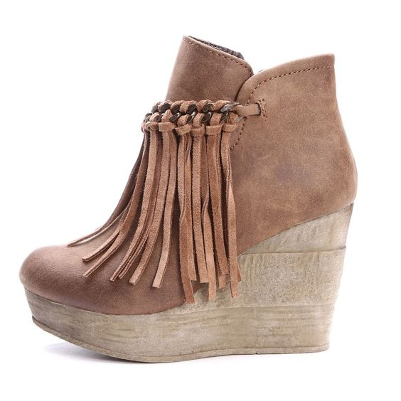 Sbicca Zepp Wedges | Sbicca Womens Zepp Fringe Ankle Boots Tan ...