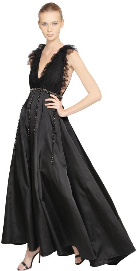 Embellished Lace & Silk Satin Dress