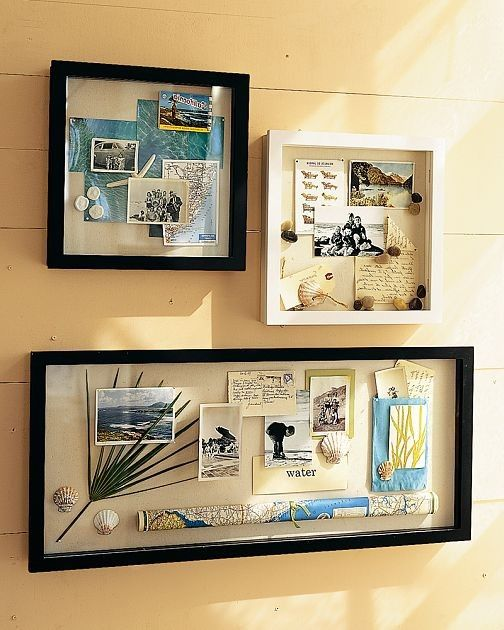 Shadow boxes with pictures and souvenirs