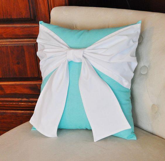 Throw Pillow White Bow on Bright Aqua Pillow 14x14 -Tiffany Blue Pillow-. $34.00, via Etsy.