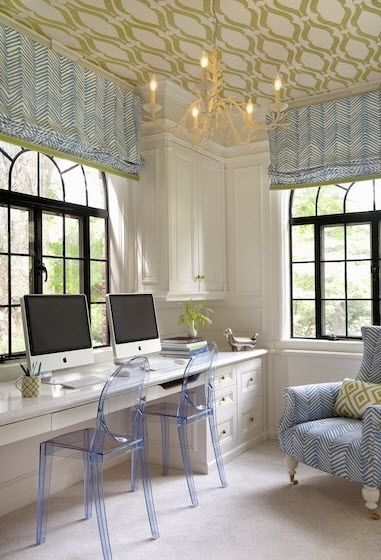 Roman shades, wallpapered ceiling & coral chandelier :: home office | More ideas here: http://mylusciouslife.com/pictures-of-home-offices-workshops-studios-workspaces-craft-rooms/