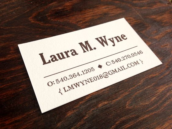 Letterpress business card Hand-set type 1-Color Traditional and - Letterpress Business Card