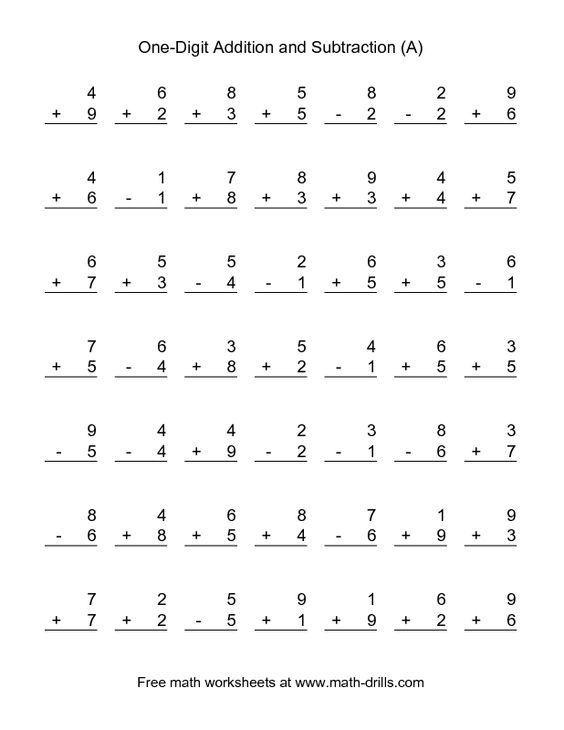 Combined Addition and Subtraction Worksheet SingleDigit A – Additions and Subtractions Worksheet