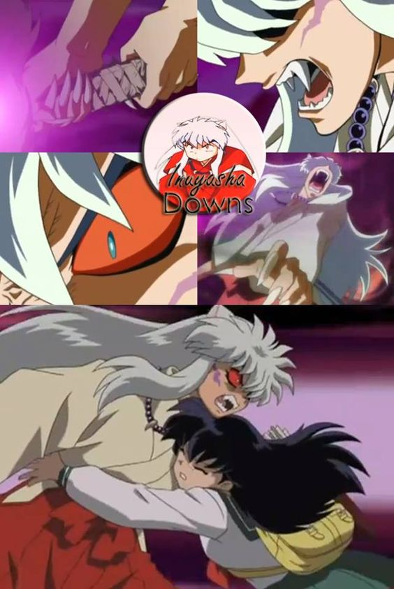 inuyasha possessed by his demon blood and concerned kagome