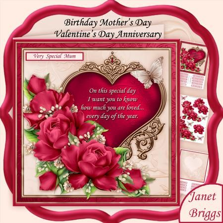 YOU ARE LOVED Pink Roses Verse 8x8 Mini Kit by Janet Briggs 3 sheet mini kit with 3d step by step decoupage, verse and blank insert.  Topper is approximately 8 inch or can be reduced in size for smaller cards.  Suitable for many occasions, birthday, Mother's Day, Valentine's Day or Anniversary. Features a lovely verse on an ornate heart, embellished with rose coloured roses.  Kit includes, 1. Topper & sentiment tags 2. Decoupage  3. Insert & sentiment tags  Several sentiment tags, including…