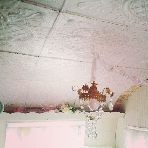 Light Fixture For Vintage Camper: Use Styrofoam Ceiling Tiles For Inside Of A Camper... Glue