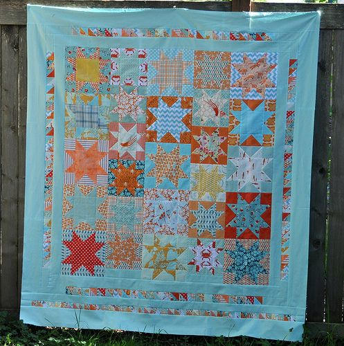 lovin the coral and aqua  Star Quilt Top