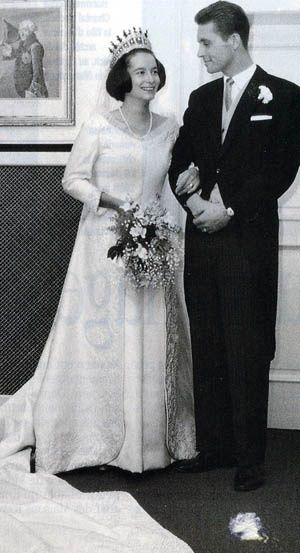 Princess Marie-Cecile and groom Duke Friedrich August of Oldenburg on their civil wedding day, 3 Dec. 1965.  The couple, who had a religious ceremony on 4 December, wed in Berlin.  Theirs was the 1st Hohenzollern wedding to be held in Berlin since 1913.