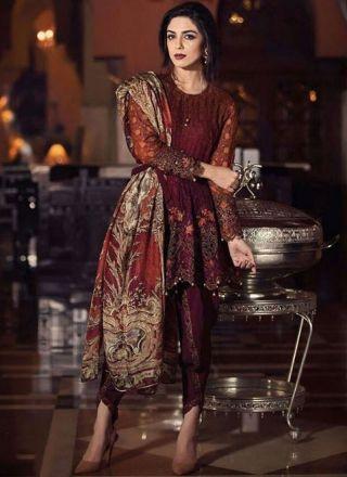 Maroon Fancy Embroidery Work 60 Gram Georgette Designer Printed Pakistani Suit http://www.angelnx.com/Salwar-Kameez/Pakistani-Suits
