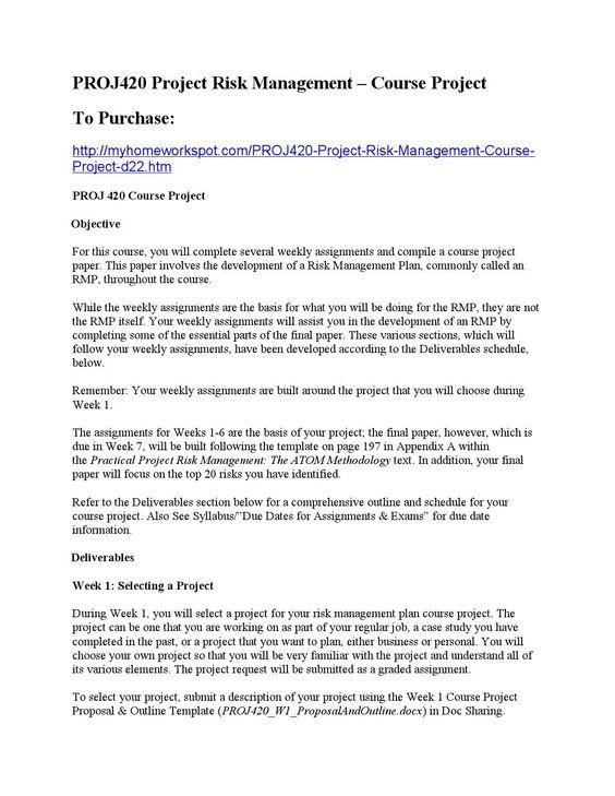 Proj420 project risk management u2013 course project Project risk - project risk management template