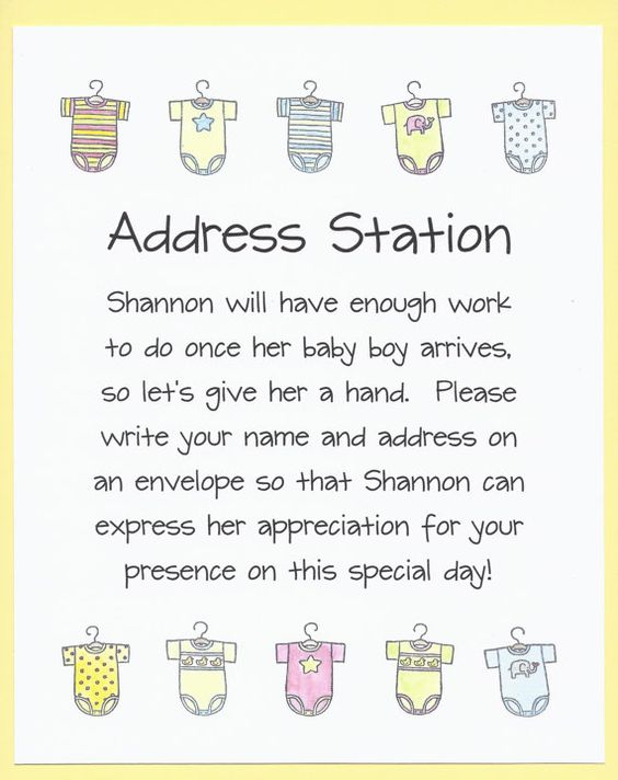 envelope addressing table  baby shower sign  thank you