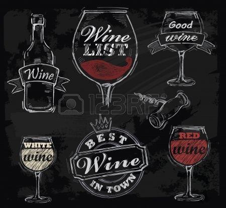 Vector krijt wijn ingesteld op schoolbord achtergrond for Wine chalkboard art