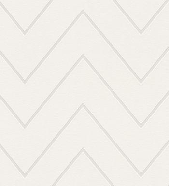 Papel pintado rayas zig zag retro color blanco - 1141808