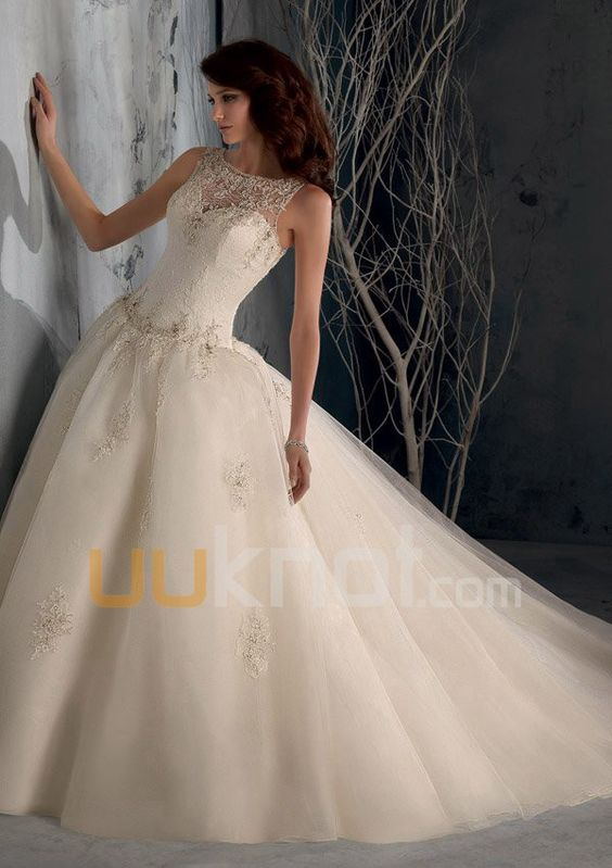 Ball Gown Illusion Sweetheart Cathedral Train Lace Tulle Wedding Dress For Bride