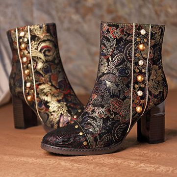 SOCOFY Women Genuine Sheep Leather Splicing Pattern Stitching Zipper Boots