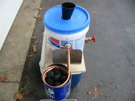 Diy Portable Charcoal Water Heater Diy Selfsufficiency