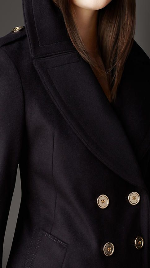 Military Button Wool Cashmere Pea Coat | Burberry